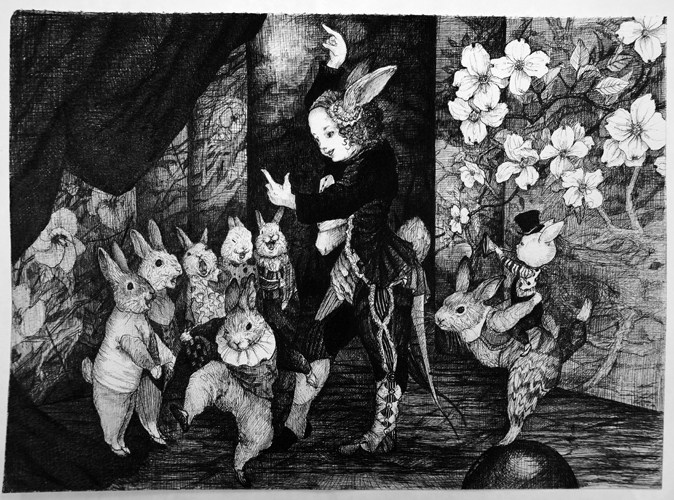 北川麻衣子「祝い歌」33.5×24.5㎝ ボールペン