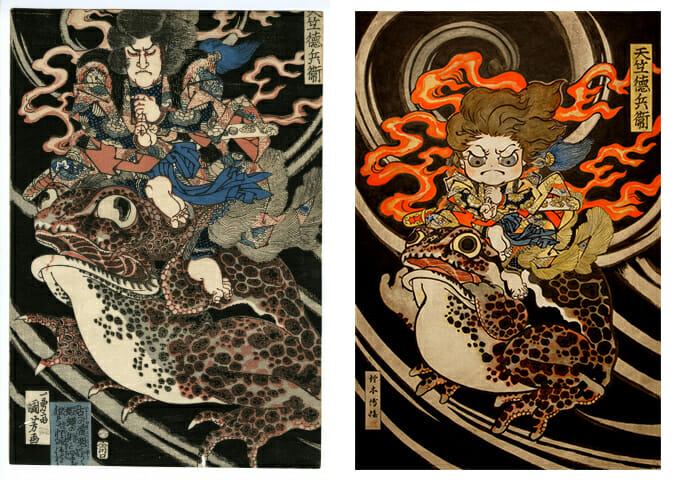 左:歌川国芳 右:鈴木博雄