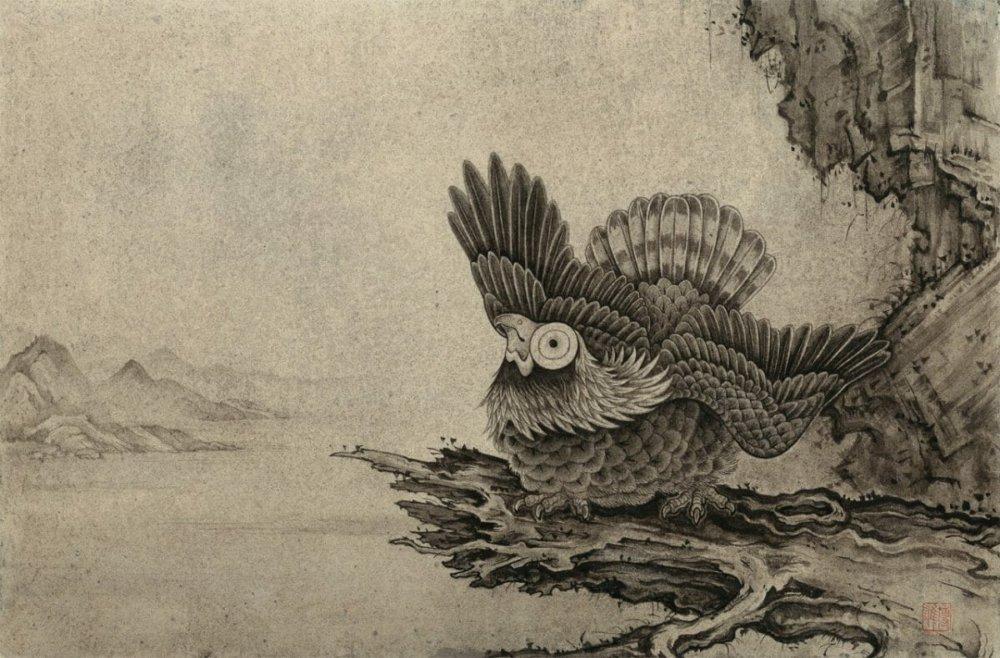 鈴木博雄「上見る鷲」