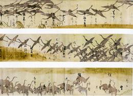 本阿弥光悦筆、俵屋宗達下絵「鶴下絵三十六歌仙和歌巻」(東京国立博物館蔵)