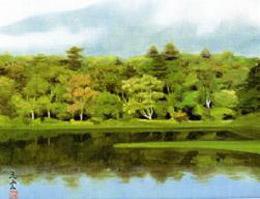 奥田元宋「天霧山湖」
