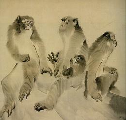 長沢蘆雪「群猿図」(襖絵・部分)大乗寺