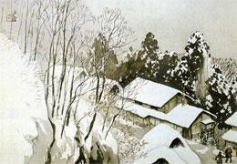 川合玉堂「山村宿雪」(個人蔵)