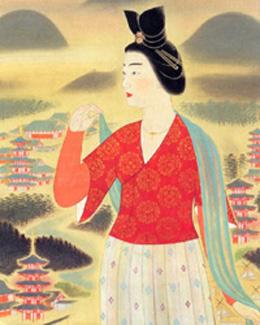 安田 靫彦 「飛鳥の春の額田王」(滋賀県立近代美術館所蔵)