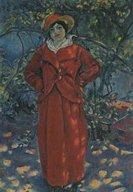 安井 曽太郎「赤衣婦人立像」