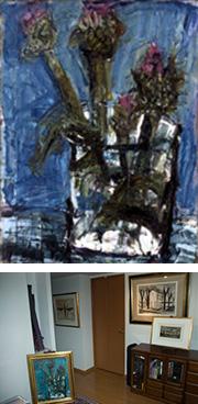 上:須田剋太 アーティチョーク 下:S様のご自宅。 イーゼルに立てて飾られています。