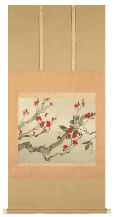 松林 桂月「梅花椿合景」