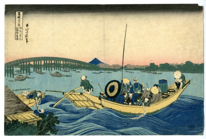 "Katsushika Hokusai ""Thirty-six Views of Mt. Fuji, Viewing Sunset over Ryogoku Bridge from the Onmaya"""