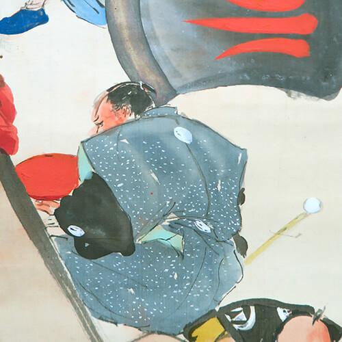 後ろ向きで大盃を持ってる人物は、原才助こと、馬場三郎兵衛信人