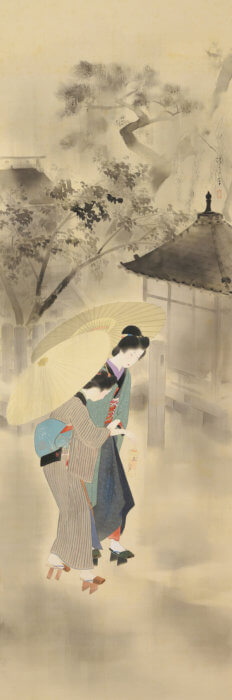 "Kaburaki Kiyokata ""Night Rain at Mokubo-ji Temple"""