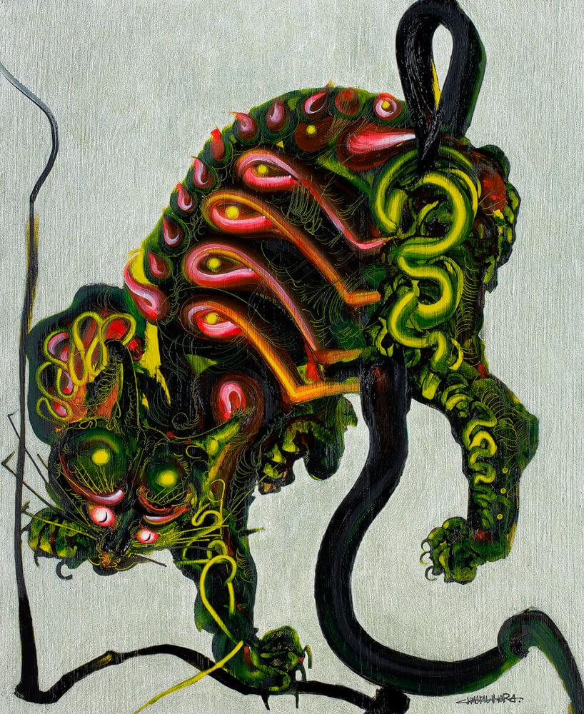 木原千春「線を捕まえる猫図」 ―  河鍋暁斎 蛙を捕まえる猫図より