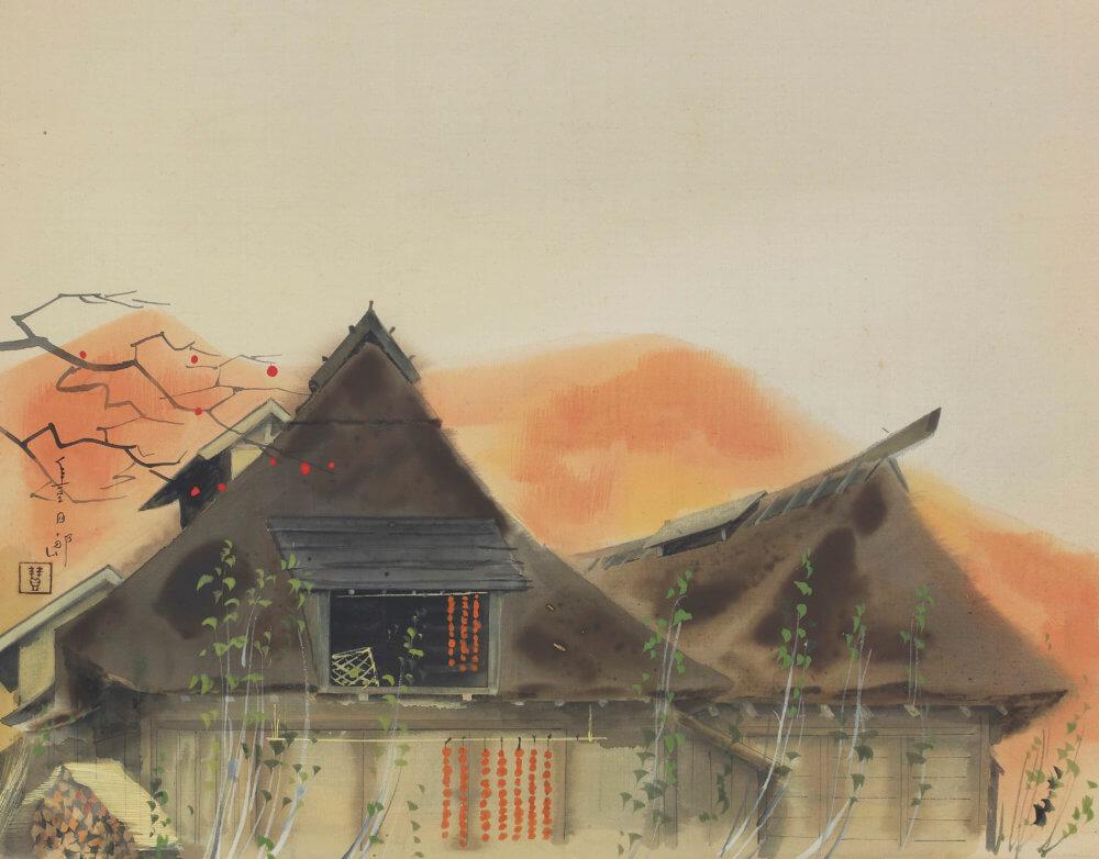 福田 豊四郎「柿時雨」 価格200,000円(税込)