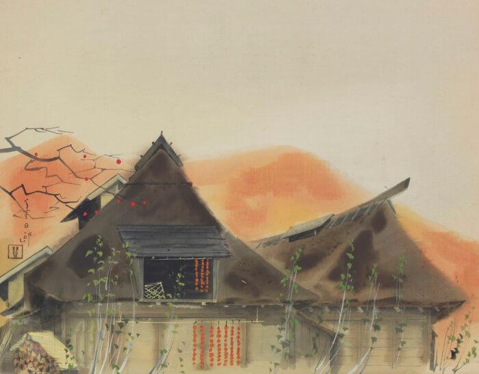 福田 豊四郎「柿時雨」