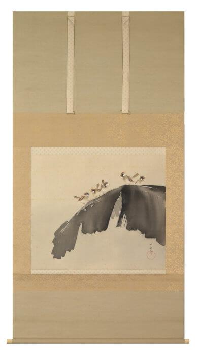 荒木 十畝「芭蕉喜雀図」