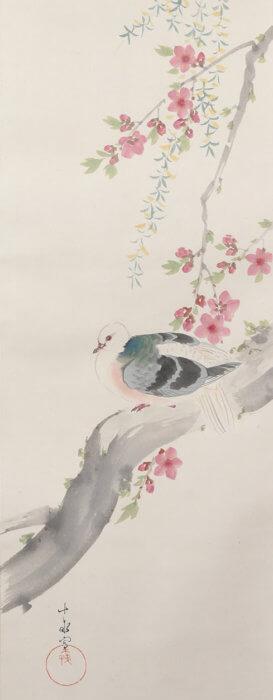 荒木 十畝「桃鳩」