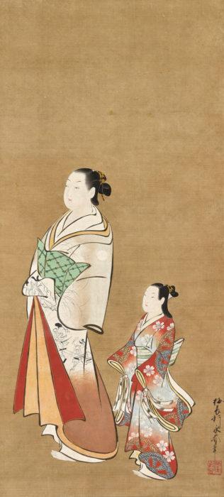 梅翁軒 永春「太夫禿道中図」