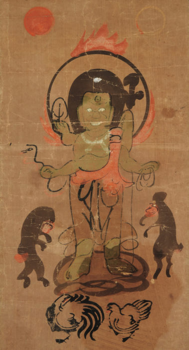 """Author unknown """"Otsu-e: The Protector with theBlue Face"""""""