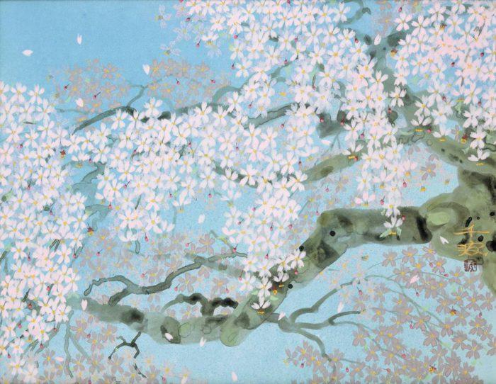 中島 千波「信楽 畑の枝垂桜」