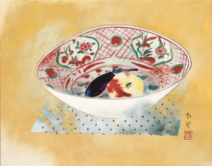 堅山 南風「赤絵皿之静物」