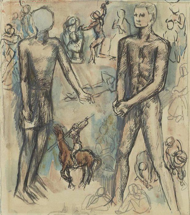 海老原 喜之助「二人の男、彫刻家、騎馬像など」