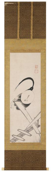 伊藤 若冲「千木に鶏」