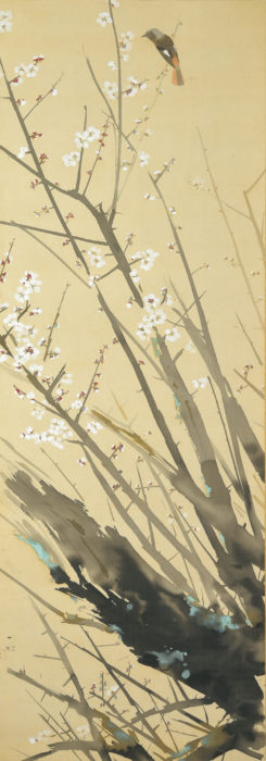 "Tanaka Isson ""White Plum Blossoms and Daurian Redstart"""
