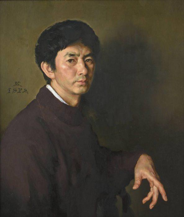 牧野 邦夫「セーターの自画像」