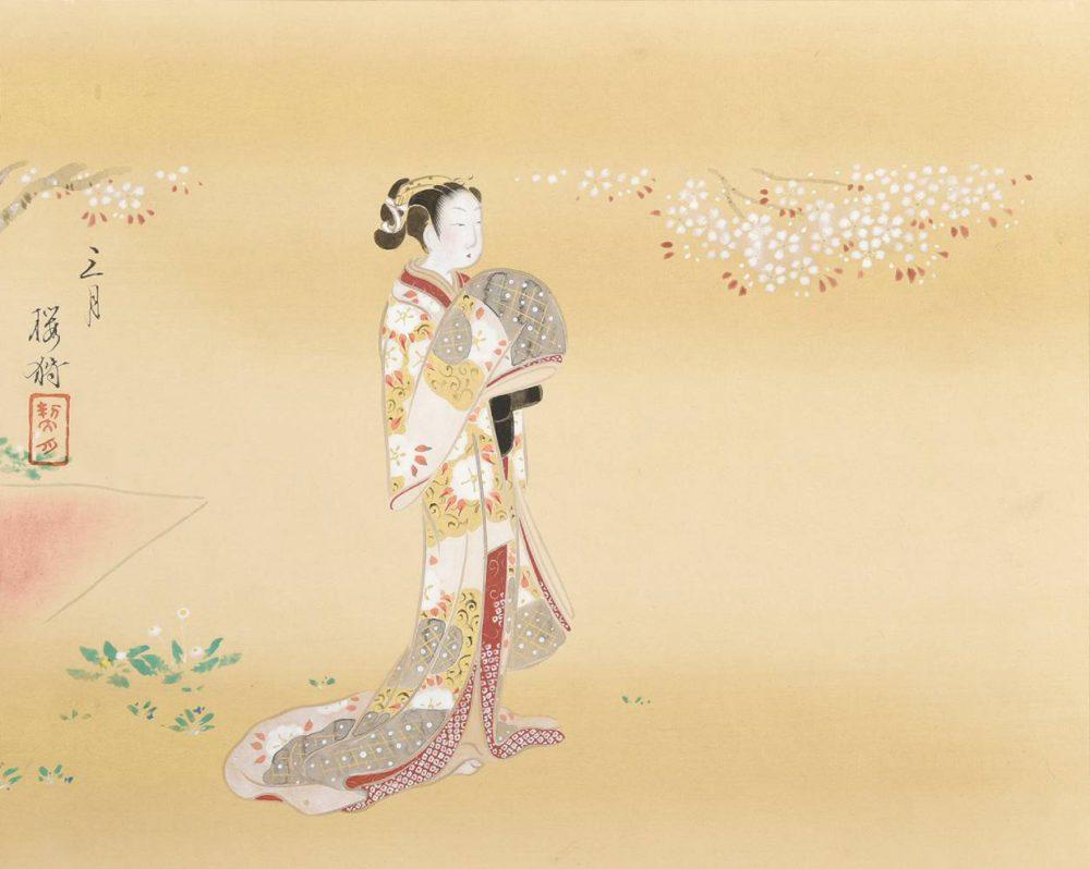 菊池 契月「古代美人画十二ヶ月・三月」全12枚 価格はお問い合わせください