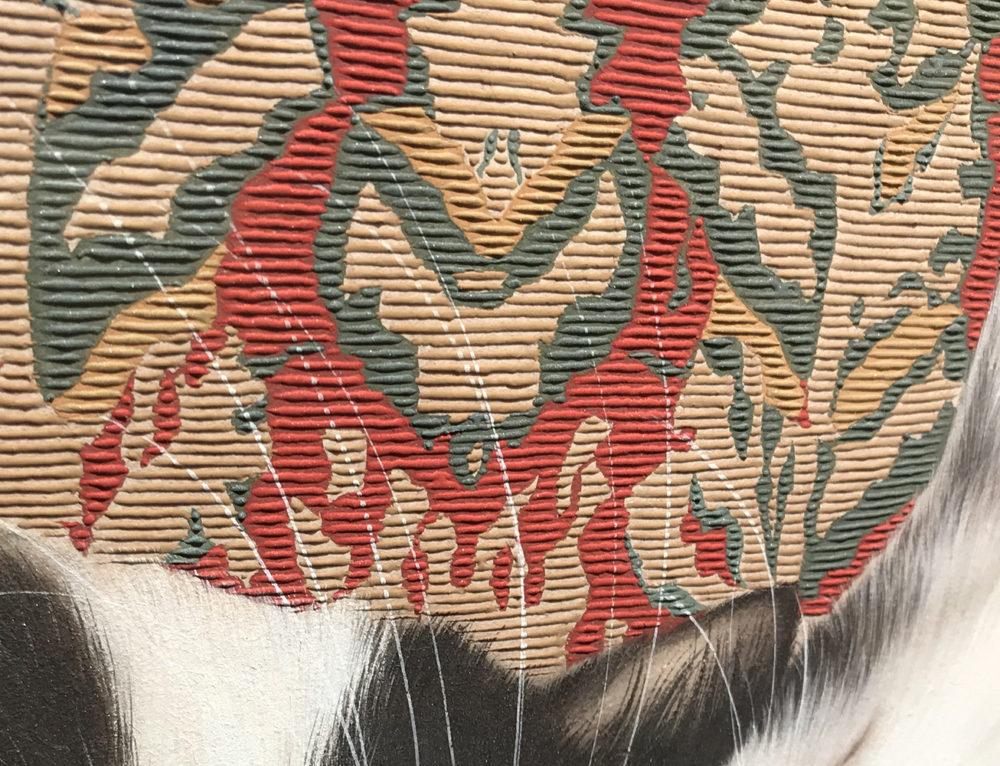 拡大:1本1本がぷっくりと盛り上がり、カーペットの柄に立体感を出しています。猫の毛のふんわり感との違いを常に意識して描いているそうです。