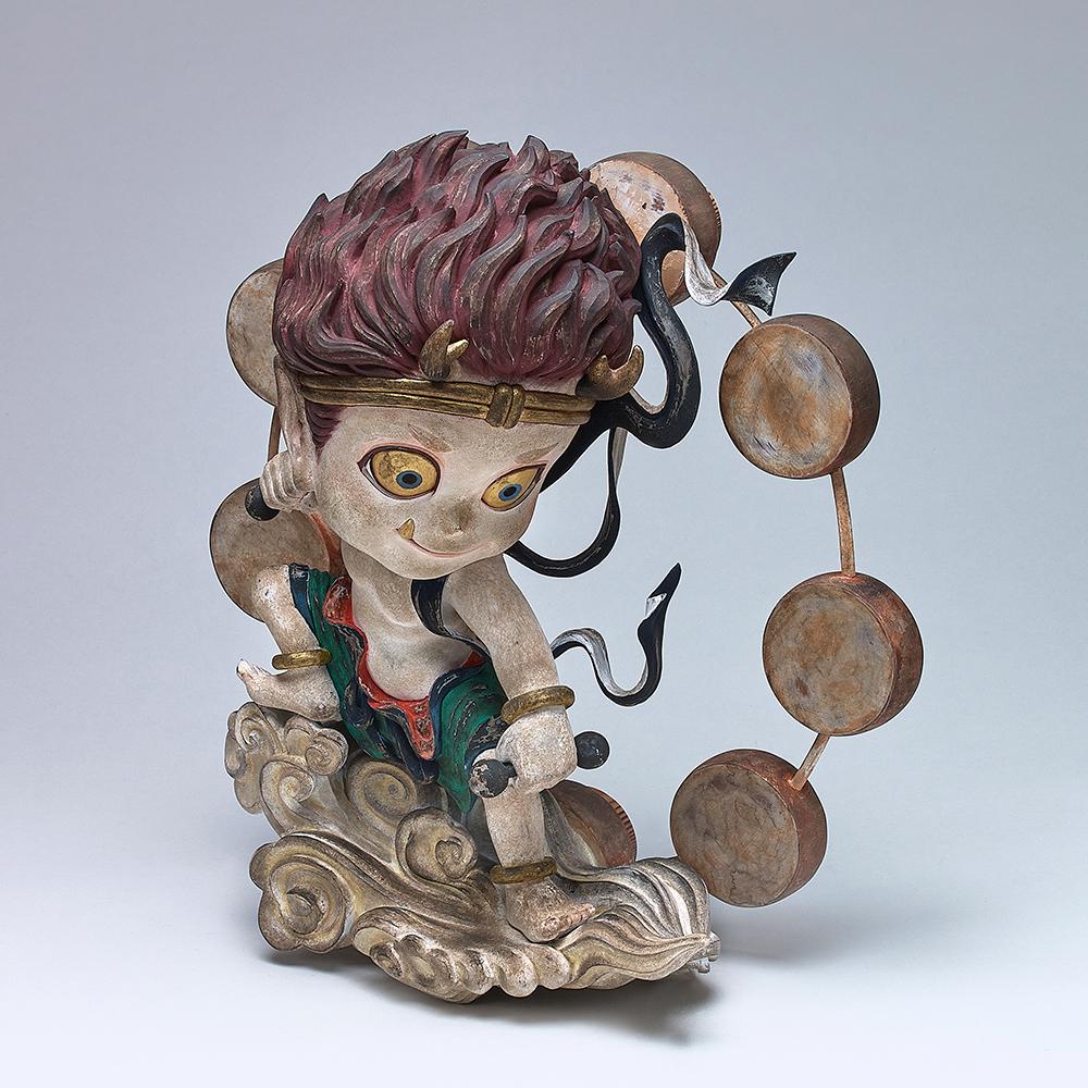 鈴木博雄2020「雷神像」(小島久典:木彫制作)H35.0×W33.7×D17.2cm