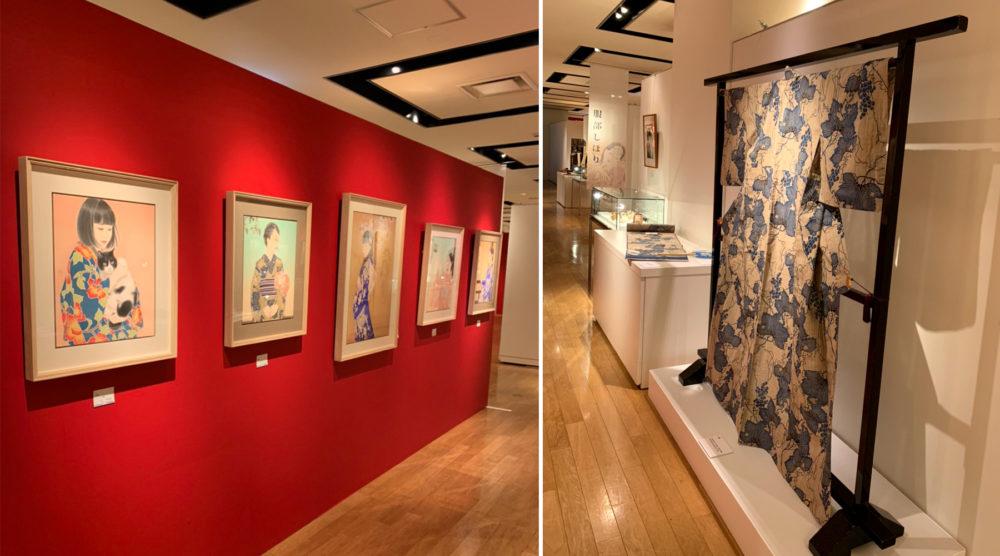 宮﨑優さんの展示。使用画材や竺仙浴衣・小物なども見られます。