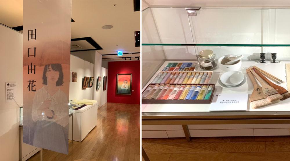田口由花さんが普段使っている画材や素描、そしてあまり見せる機会のない「小下図」も展示しています。