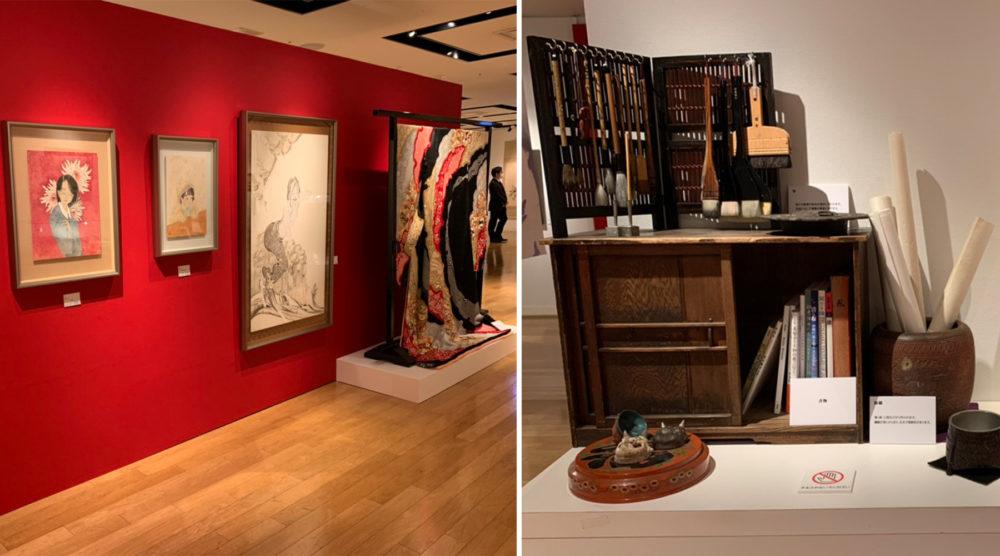 箪笥や筆吊りなど画材一式。服部しほりさんの展示。