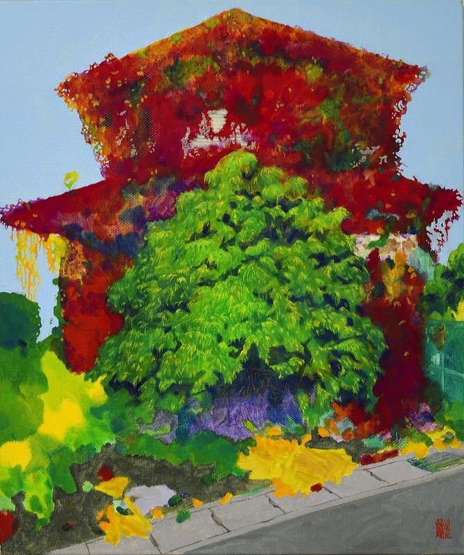 瓜生剛「緑の家_鮮紅」