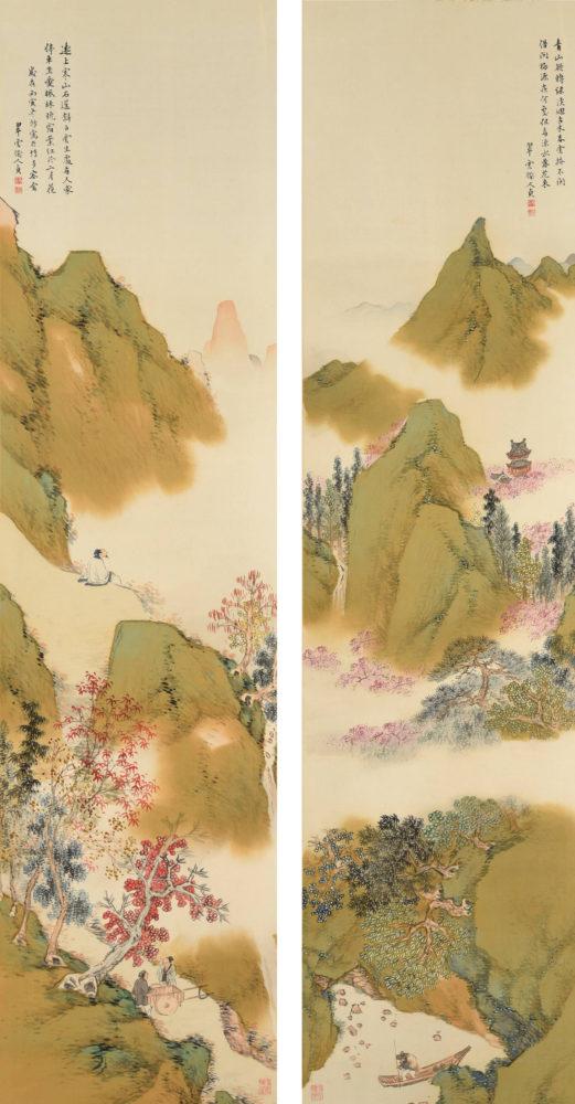 小室 翠雲「武陵桃源図 「楓林停車図」