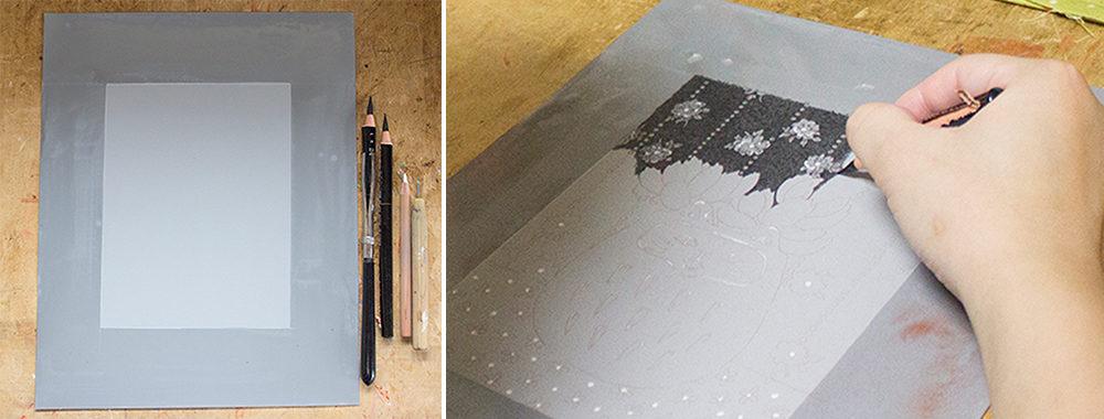 リトグラフに使用する道具たち。左からアラビアゴムをひいたアルミ板、ダーマトグラフ、白墨、ニードル