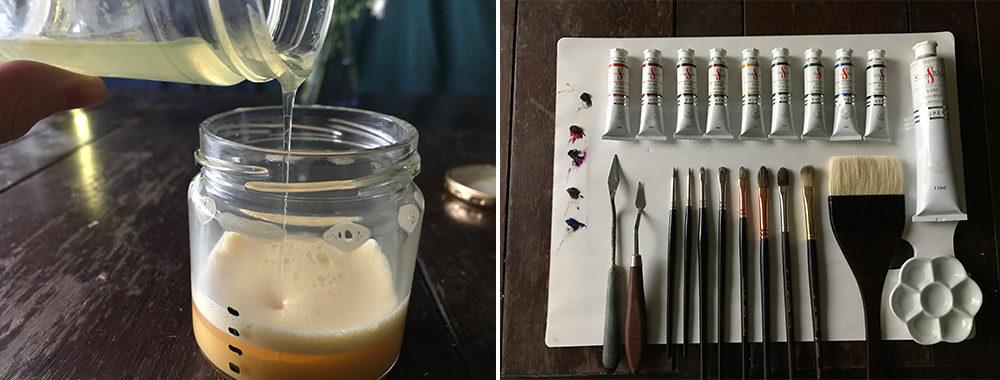 全卵に乾性油と樹脂バニスを加え攪拌したものを顔料と練り水で希釈して使う。油絵具との相性も良い。