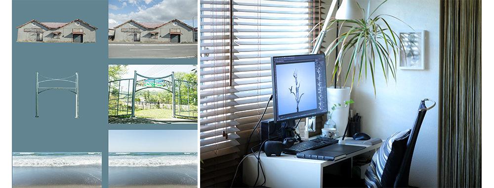 左:作品に使用している素材の一部。 古い倉庫、公園のアーチ、北海道の海の風景の切り抜き前後。右:自宅でのPC作業スペース。Adobe Photoshopを使用して制作している。