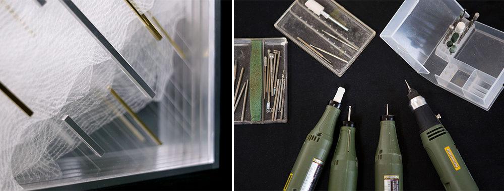 左:作品を横から撮影。削られた薄いアクリル板が何層にも重なることで、神秘的なオーラを纏う 右:特殊なニードル、リューター