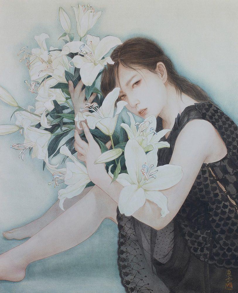 岡本東子「白い花」