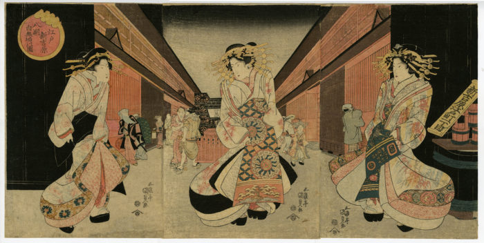 """Toyokuni III (Kunisada) """"White Clothing on the First Day of the Eighth Month in the New Yoshiwara in Edo"""""""