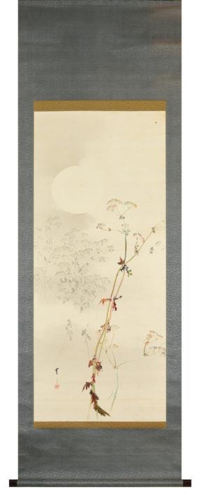 渡辺 省亭「月に秋草」