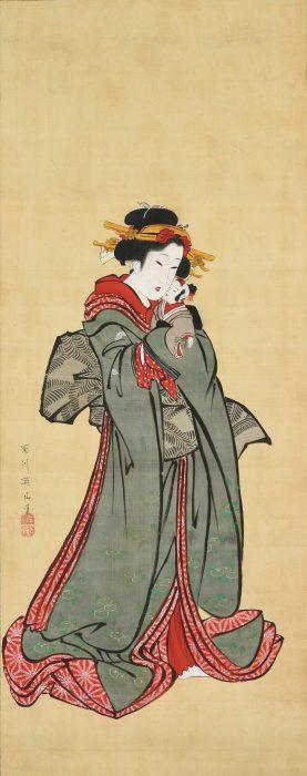 菊川 英山「人形を抱く娘」