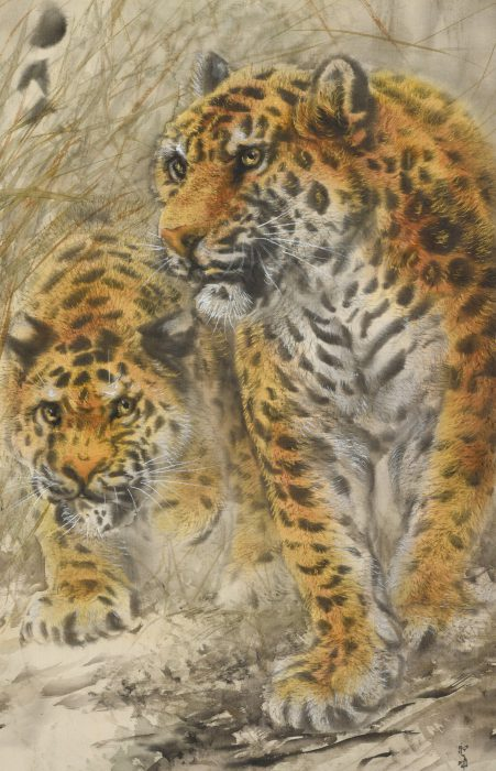 大橋 翠石「樹下双豹之図」