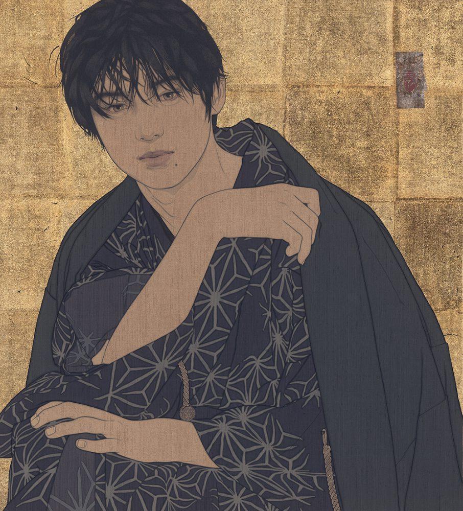 池永康晟「文學・翔」55×50cm 亜麻布、岩絵具、膠、墨、金銀泥 2021年